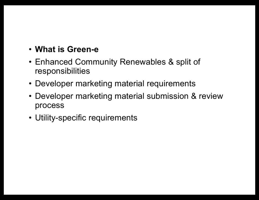 • What is Green-e • Enhanced Community Renewabl...