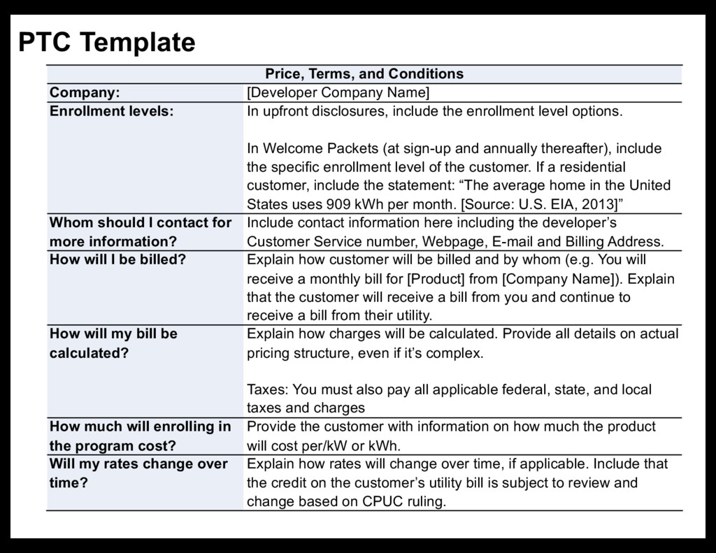 PTC Template Price, Terms, and Conditions Compa...