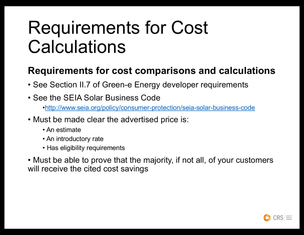 Requirements for cost comparisons and calculati...