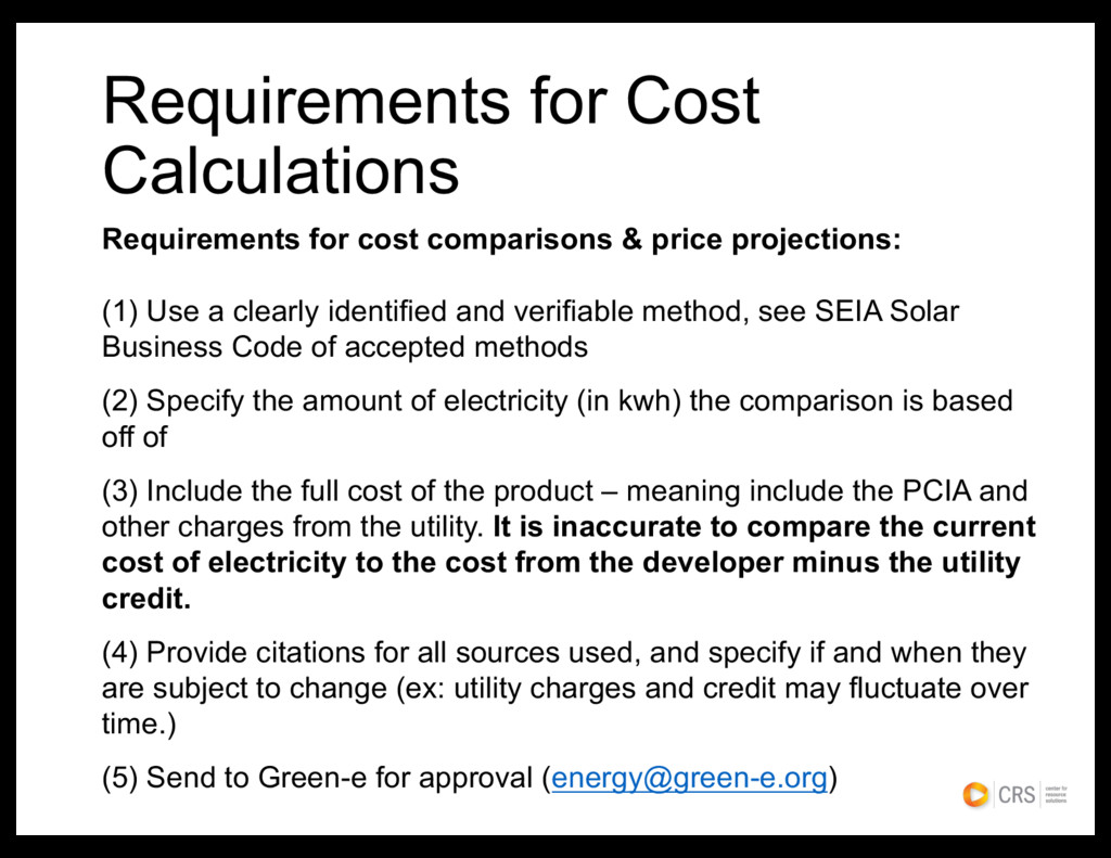 Requirements for Cost Calculations Requirements...