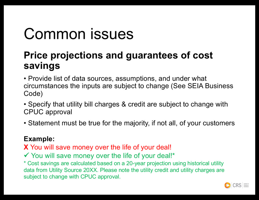 Common issues Price projections and guarantees ...