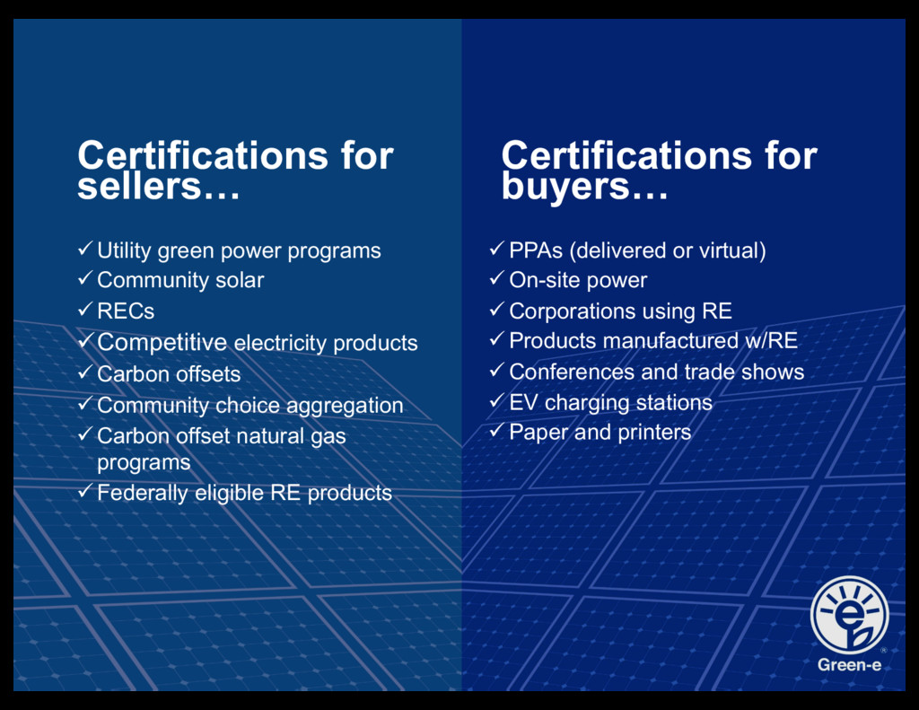Certifications for sellers… üUtility green powe...