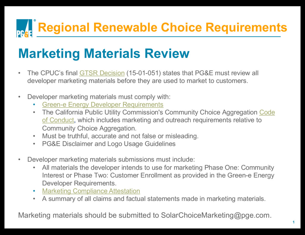 1 Regional Renewable Choice Requirements Market...
