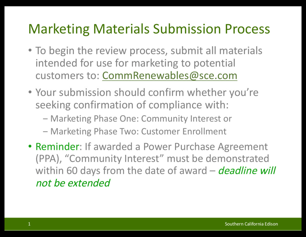 Marketing Materials Submission Process • To beg...