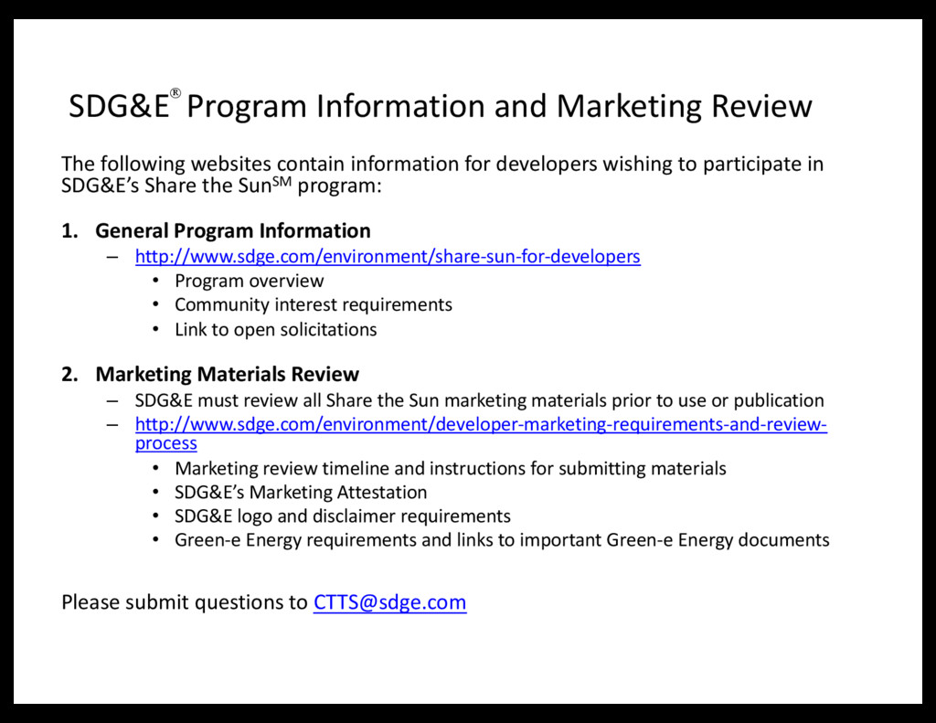 SDG&E Program Information and Marketing Review ...