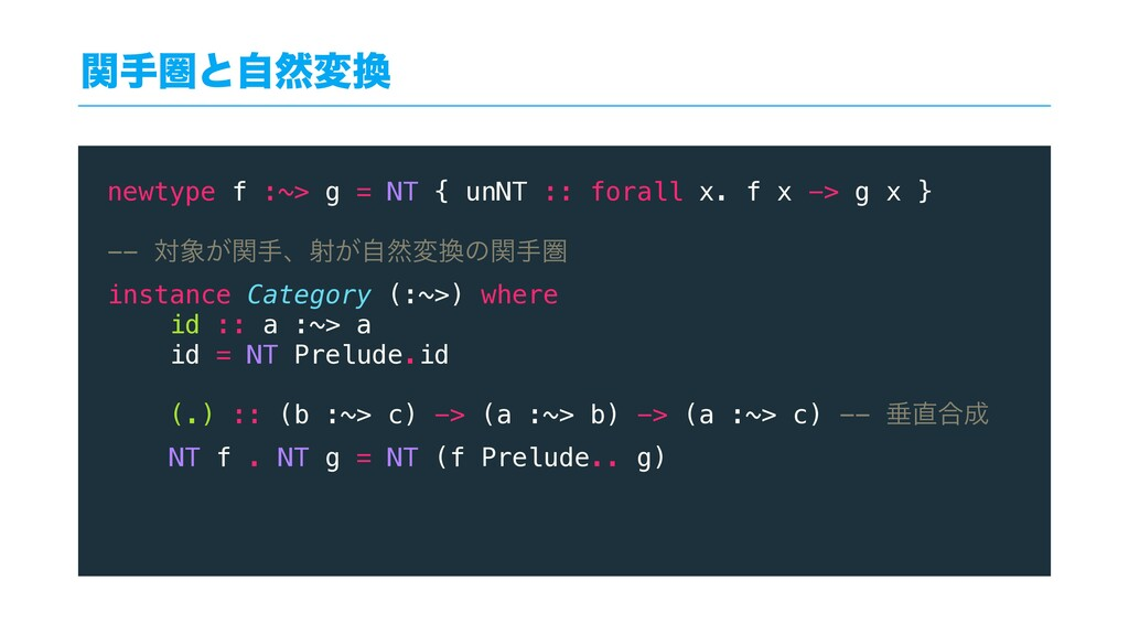 ؔखݍͱࣗવม newtype f :~> g = NT { unNT :: forall ...