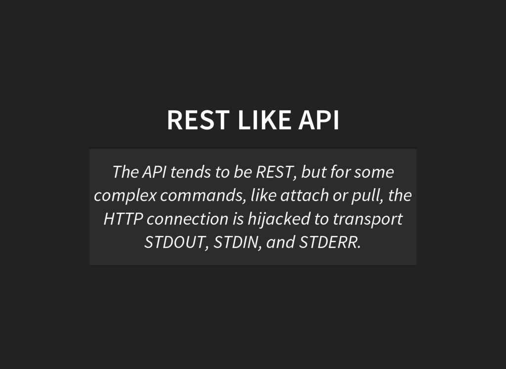 REST LIKE API The API tends to be REST, but for...