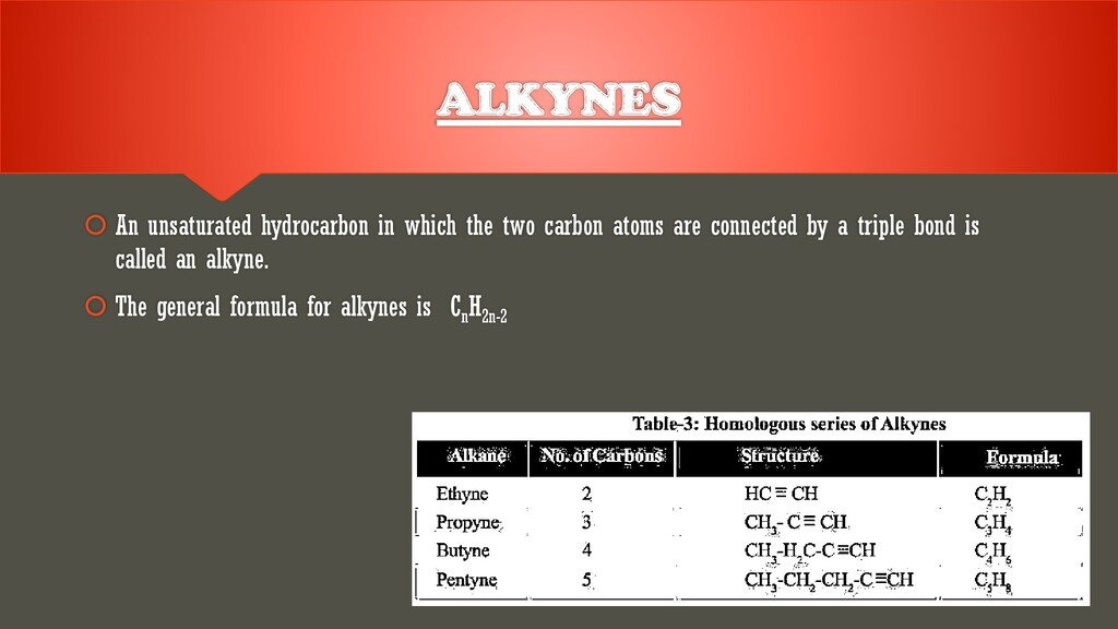 ALKYNES  An unsaturated hydrocarbon in which t...