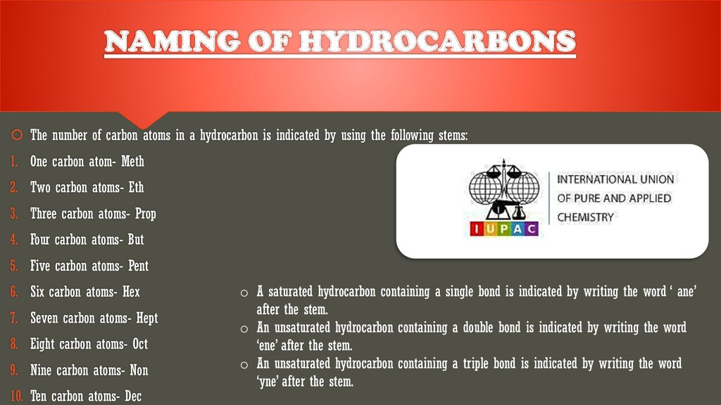 NAMING OF HYDROCARBONS  The number of carbon a...