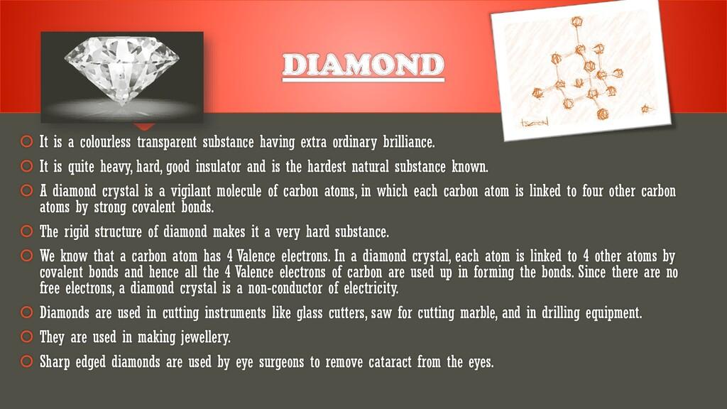 DIAMOND  It is a colourless transparent substa...