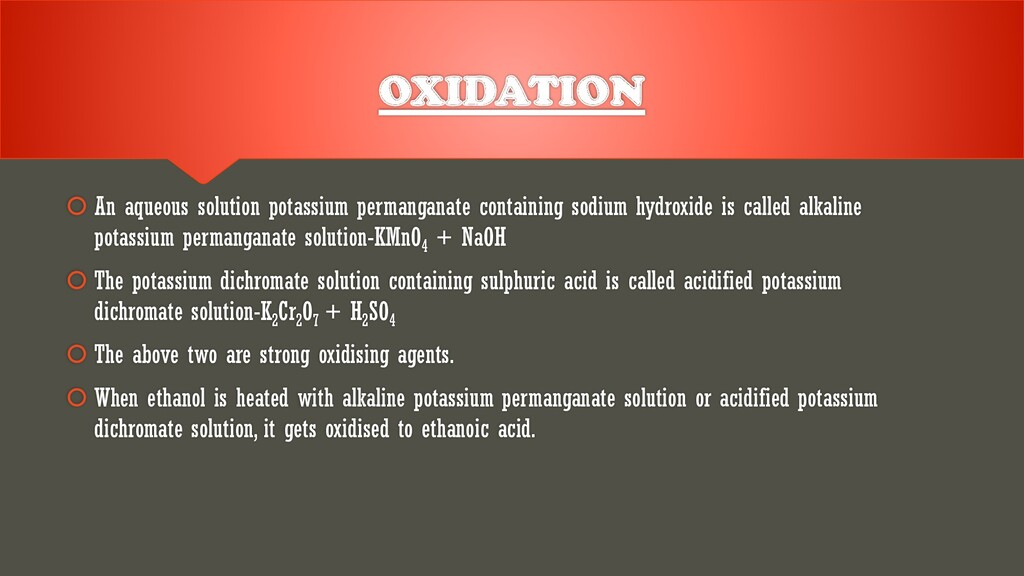  An aqueous solution potassium permanganate co...