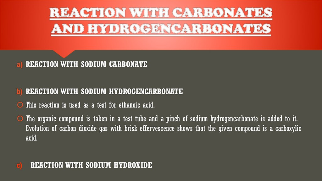 a) REACTION WITH SODIUM CARBONATE b) REACTION W...