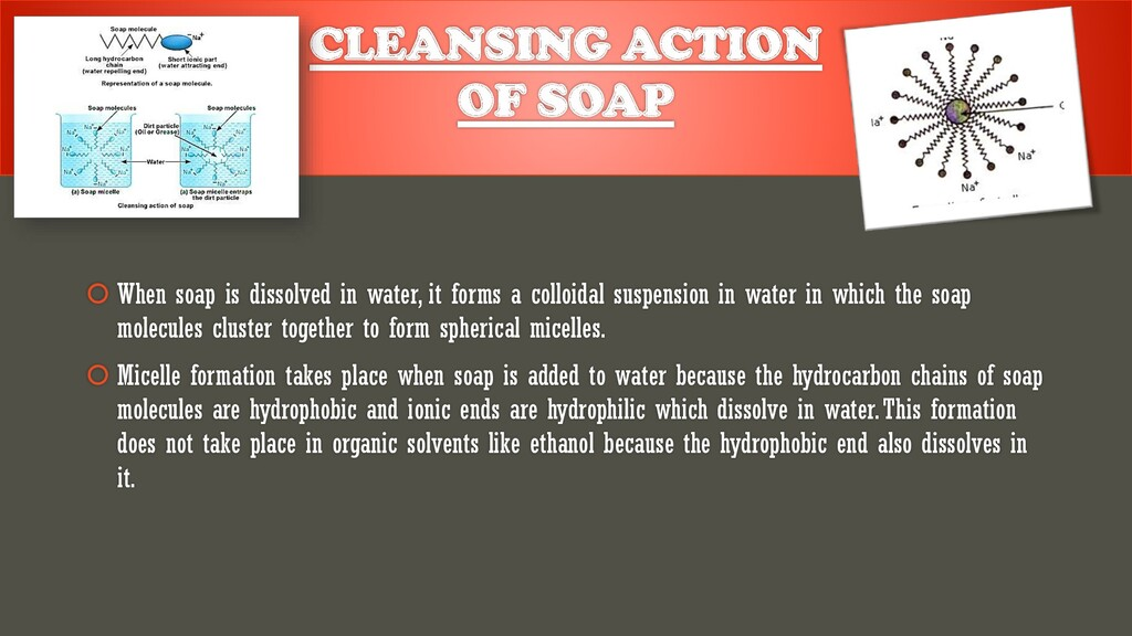CLEANSING ACTION OF SOAP  When soap is dissolv...