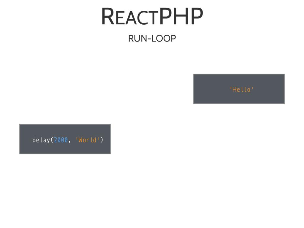 'Hello' delay(2000, 'World') REACTPHP RUN-LOOP
