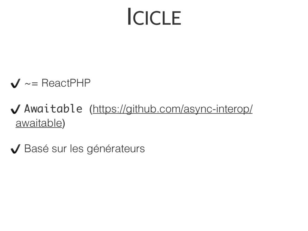 ICICLE ✔ ~= ReactPHP ✔ Awaitable (https://githu...