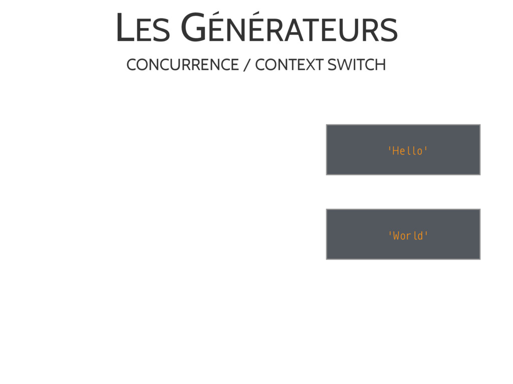 LES GÉNÉRATEURS 'World' 'Hello' CONCURRENCE / C...