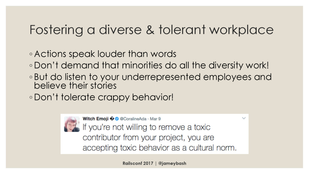 Fostering a diverse & tolerant workplace ◦ Acti...