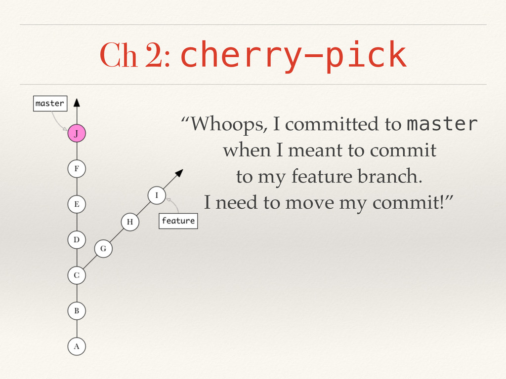 """Ch 2: cherry-pick """"Whoops, I committed to maste..."""