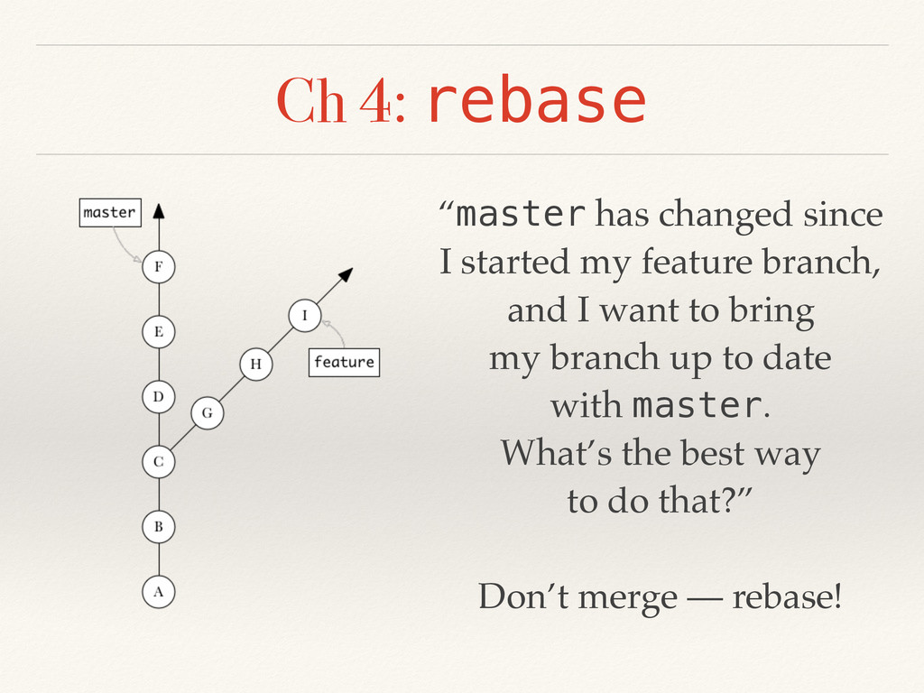 """Ch 4: rebase """"master has changed since I starte..."""