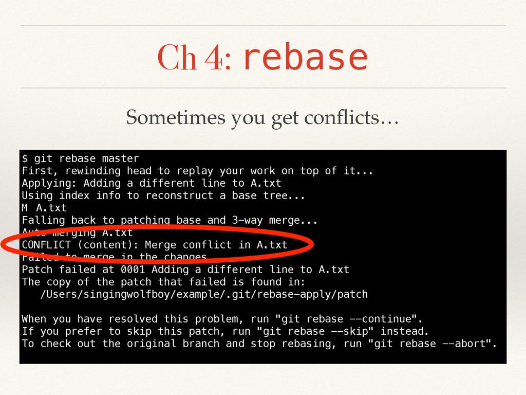 Ch 4: rebase $ git rebase master First, rewindi...