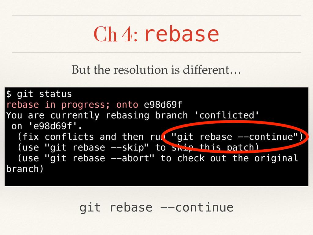 Ch 4: rebase $ git status rebase in progress; o...