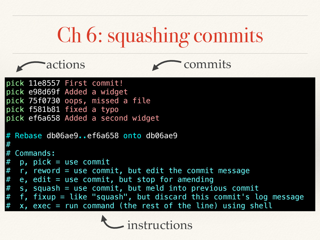 Ch 6: squashing commits pick 11e8557 First comm...