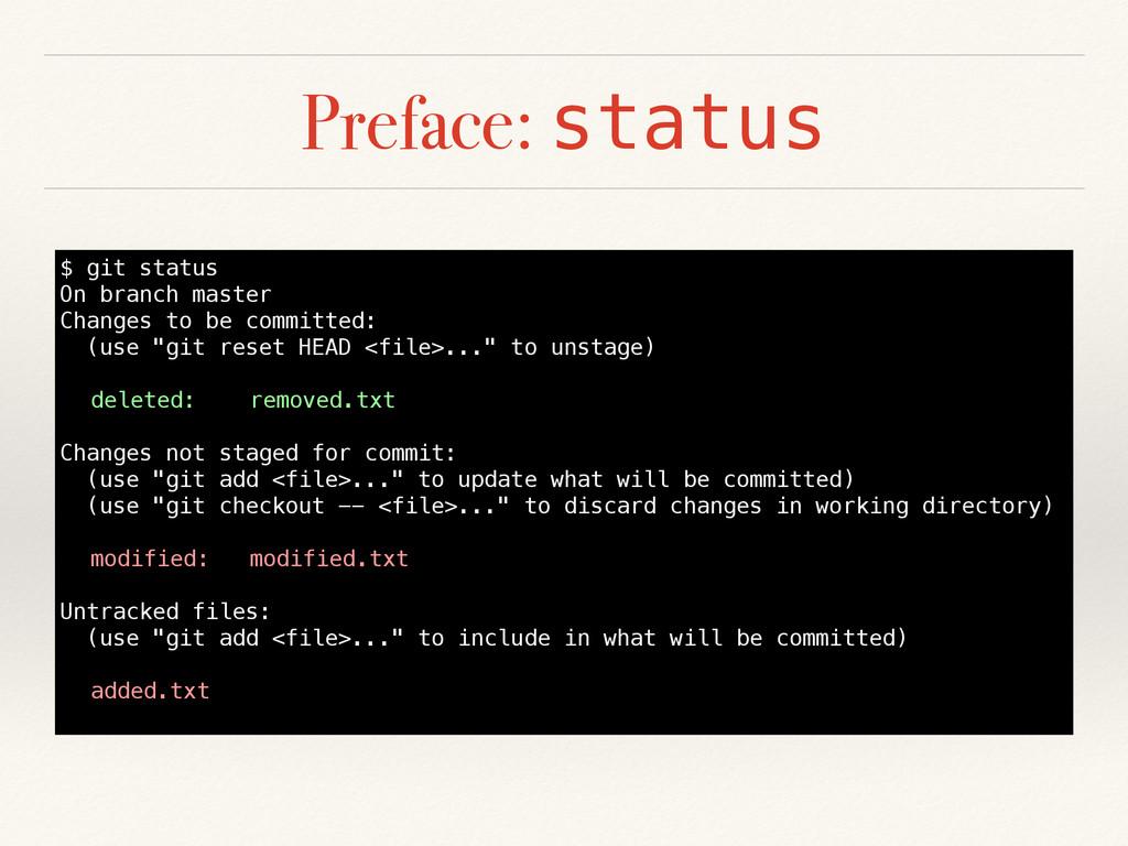 Preface: status $ git status On branch master C...