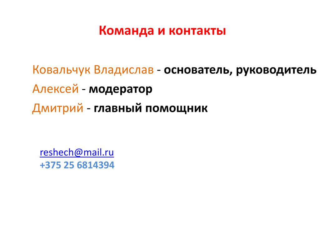 Команда и контакты Ковальчук Владислав - основа...