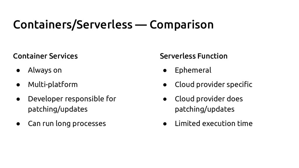 Containers/Serverless — Comparison Container Se...