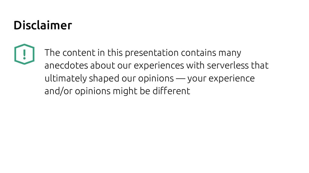 Disclaimer The content in this presentation con...