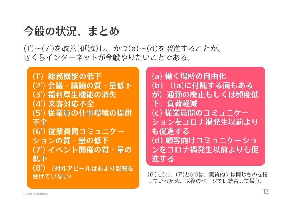 © SAKURA internet Inc. 今般の状況、まとめ (1')~(7')を改善(低...