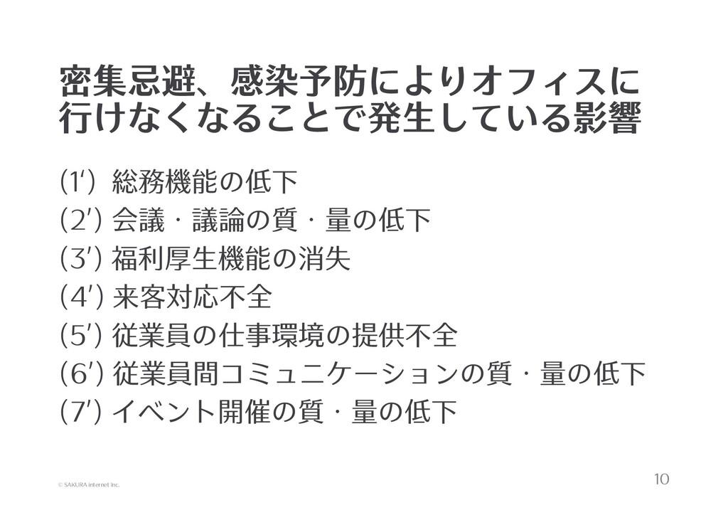 © SAKURA internet Inc. 密集忌避、感染予防によりオフィスに 行けなくなる...