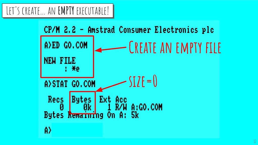 size=0 Create an empty file Let's create… an EMP...