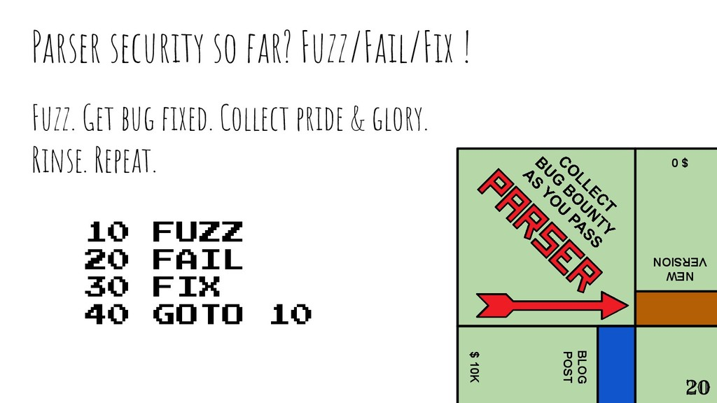 Fuzz. Get bug fixed. Collect pride & glory. Rins...