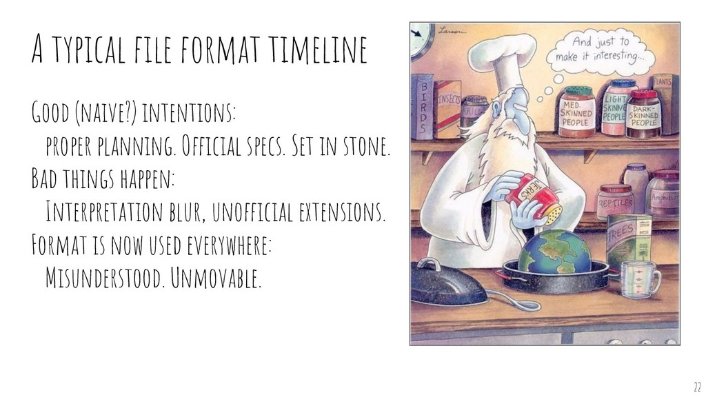 A typical file format timeline Good (naive?) int...