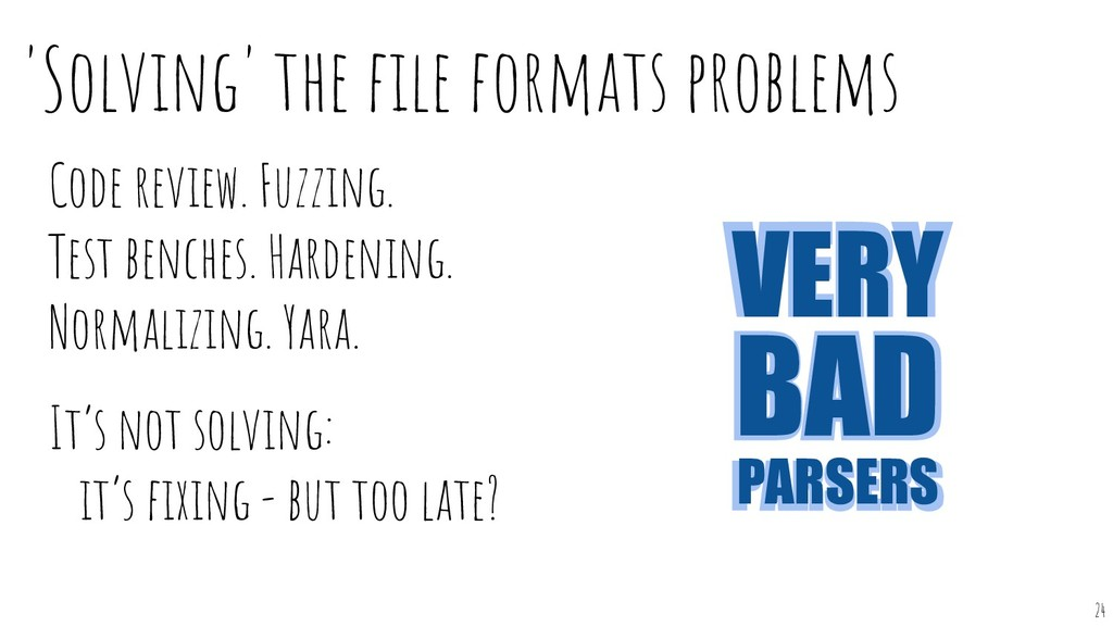 'Solving' the file formats problems Code review....