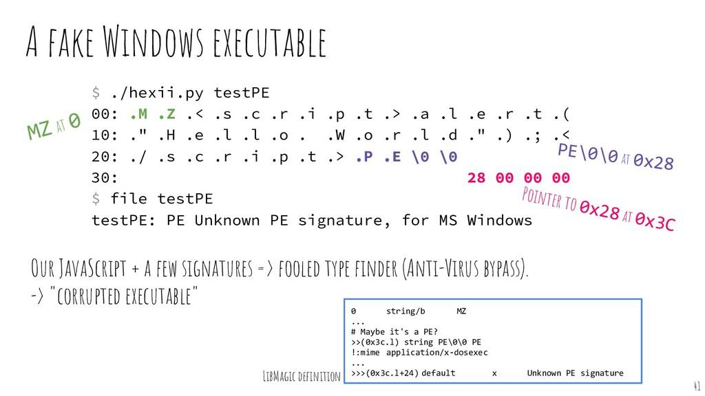 A fake Windows executable Our JavaScript + a fe...