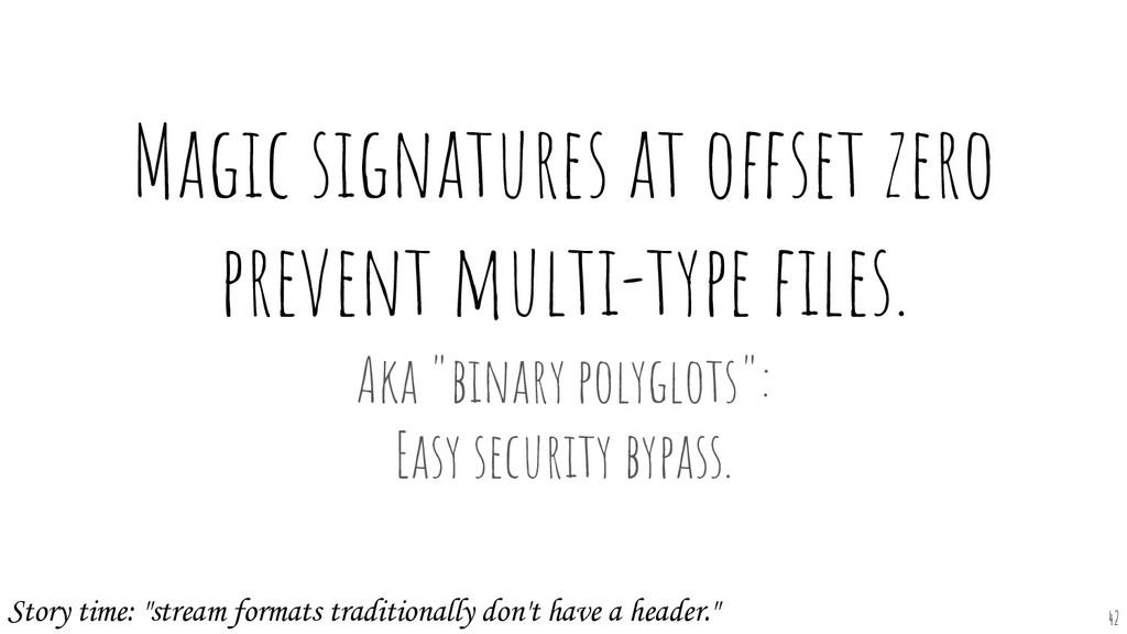 Magic signatures at offset zero prevent multi-t...