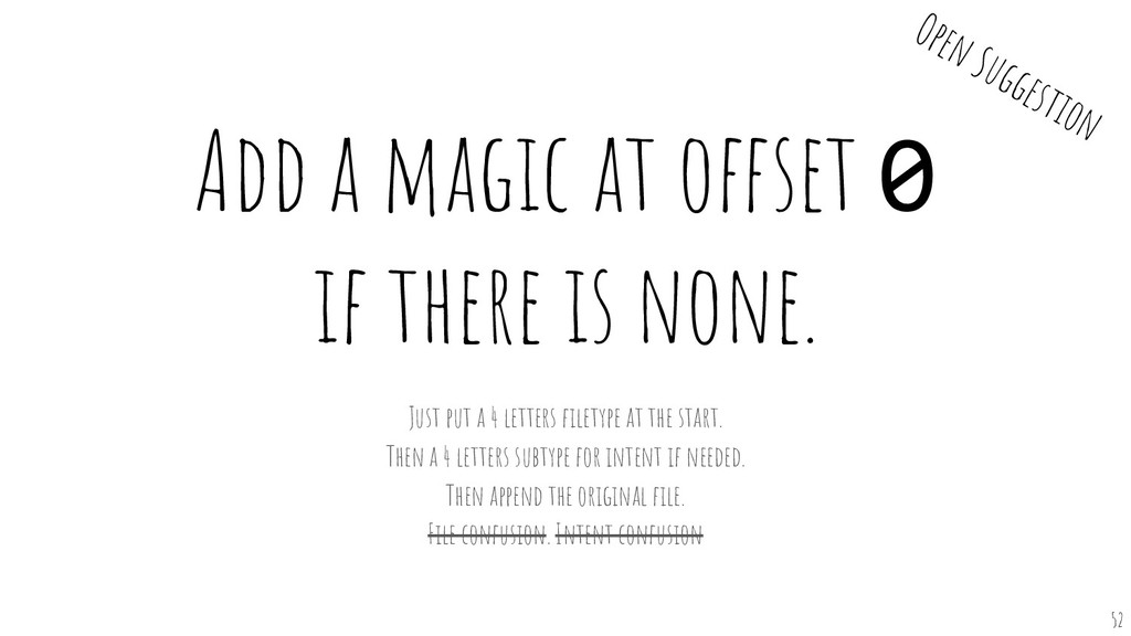 Add a magic at offset 0 if there is none. Just ...