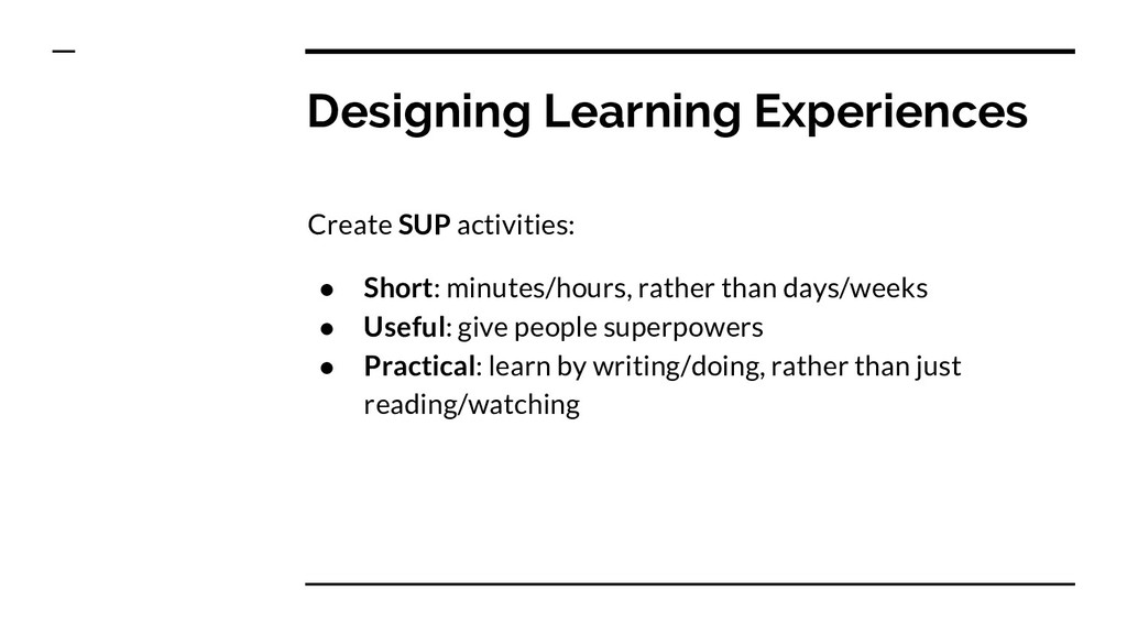 Designing Learning Experiences Create SUP activ...
