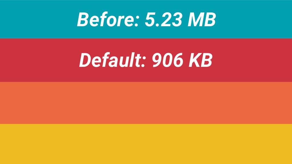Before: 5.23 MB Default: 906 KB