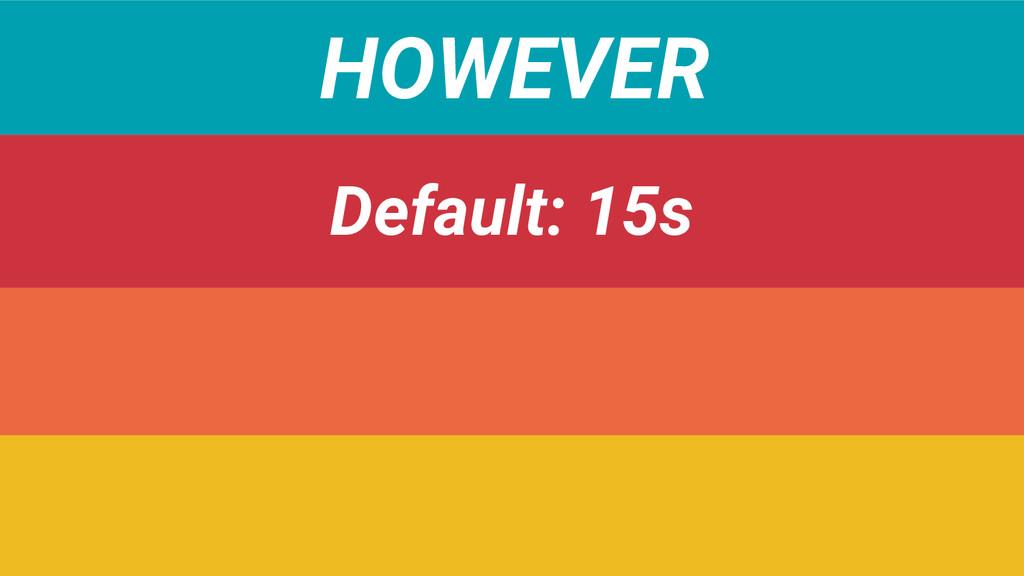 HOWEVER Default: 15s