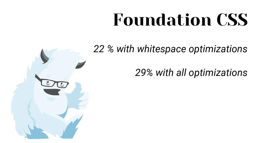 Foundation CSS 22 % with whitespace optimizatio...