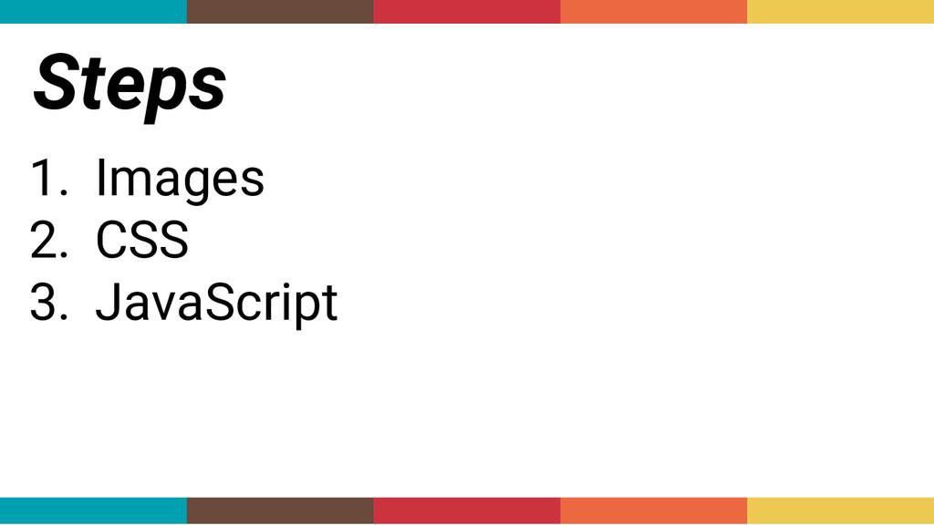 Steps 1. Images 2. CSS 3. JavaScript