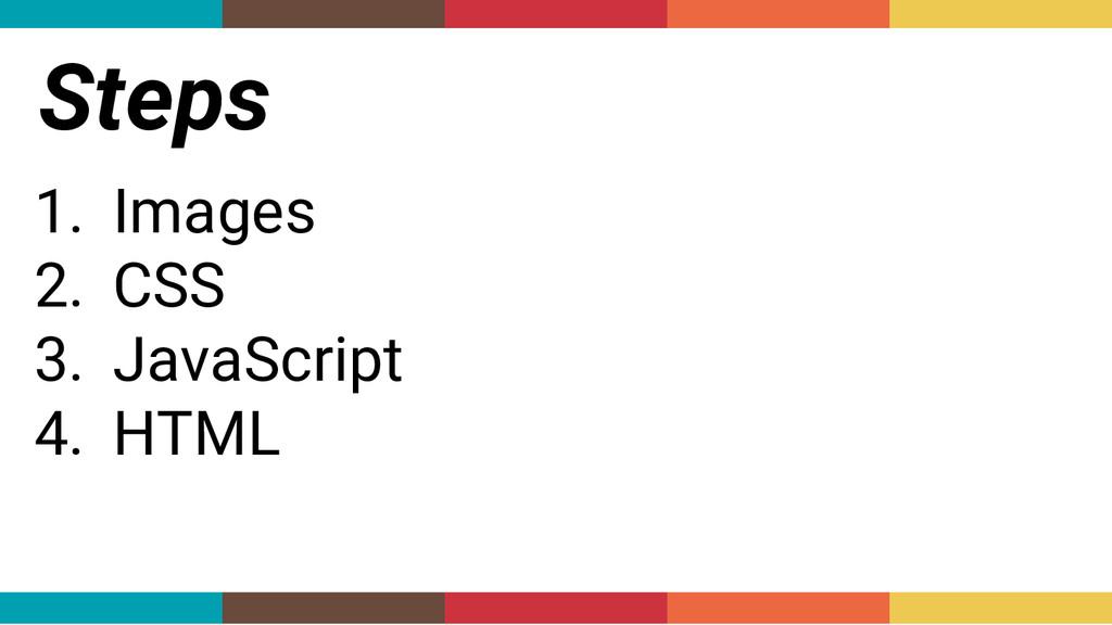 Steps 1. Images 2. CSS 3. JavaScript 4. HTML