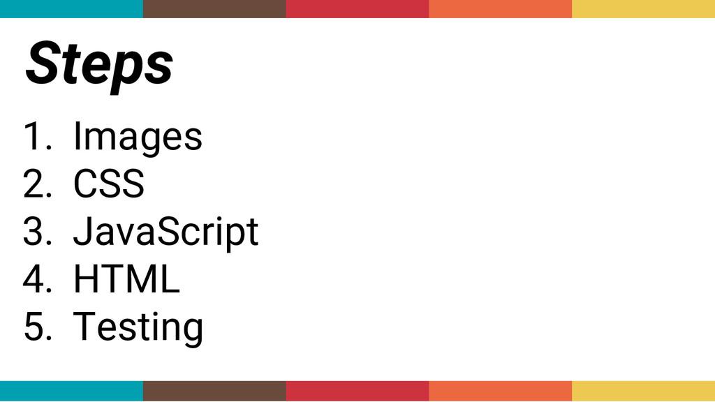 Steps 1. Images 2. CSS 3. JavaScript 4. HTML 5....