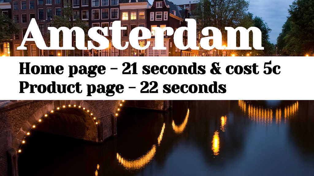 Amsterdam Home page - 21 seconds & cost 5c Prod...