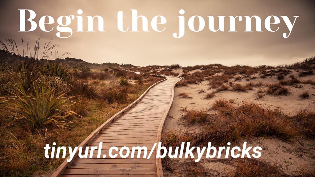 Begin the journey tinyurl.com/bulkybricks