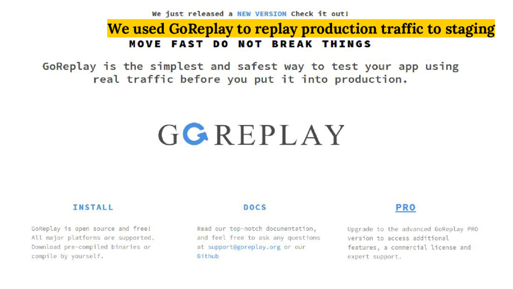 We used GoReplay to replay production traffic t...